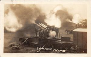 F28/ Eustis Virginia RPPC Postcard 1929 8 Guns Fire Soldiers Military