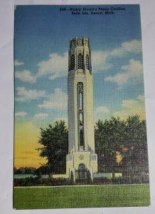 Vintage Postcard Nancy Brown Peace Carillon Belle Isle Michigan Detroit Linen
