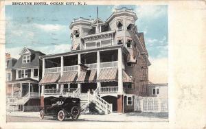 Ocean City New Jersey Biscayne Hotel Street View Antique Postcard K39558