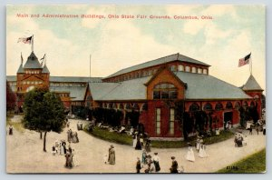 Columbus Ohio~State Fair Grounds Main Buildings~Victorian Lady Crowd~Kids~1908