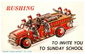 Fire Truck, Rushing to invite you to Sunday School