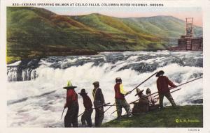Indians Spearing Salmon - Celilo Falls - Columbia River, Oregon - WB