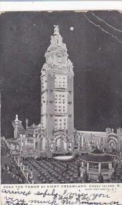 New York Coney Island Tower By Night At Dreamland 1905