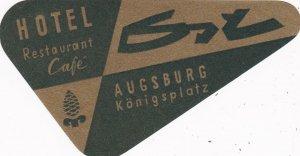 Germany Augsburg Hotel Restaurant Koenigsplatz Vintage Luggage Label sk2642