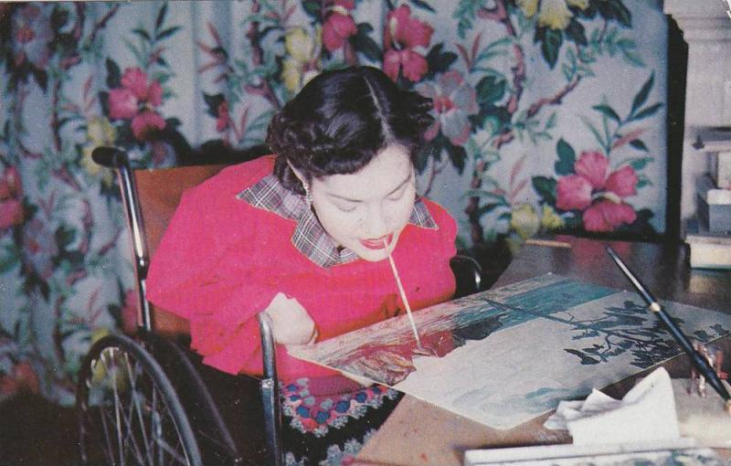 Artist Nyla Thompson, Victim of Polio Uses Mouth to Paint, 40-60´s