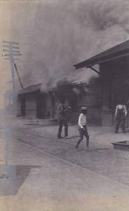 RP: #1/3 Railroad Depot Fire , Clemson , South Carolina , 1904 ; Black kids