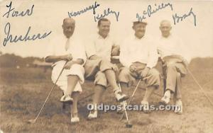 Old Vintage Golf Postcard Post Card Four Prechers, Golf Real Photo 1931