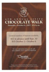 Lititz PA 6th Annual Chocolate Walk Advertising Postcard Ad