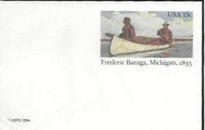 US Postcard mint - Frederic Baraga, Michigan, 1835.   Issued in 1984.