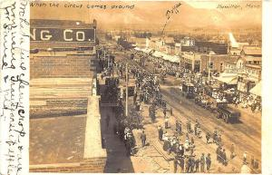 Hamilton MT Circus Comes to Town Store Fronts in 1910 RPPC Postcard