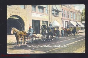 CLINTON IOWA CENTRAL FIRE STATION HORSE DRAWN ANTIQUE VINTAGE POSTCARD