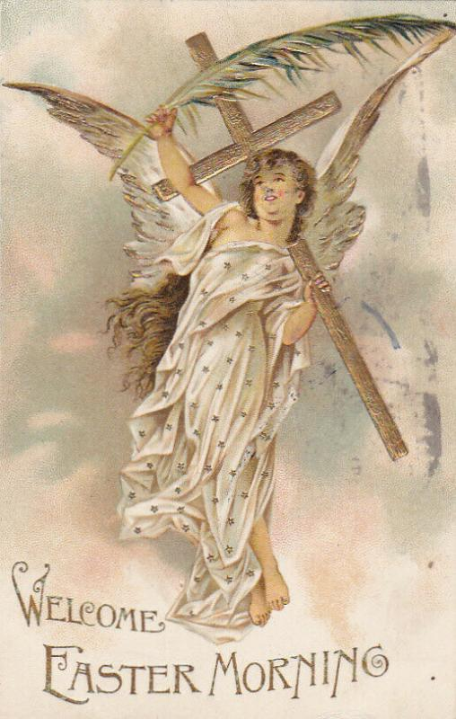 Welcome Easter Morning, Angel holding Gold cross and plam leaf, PU-1907