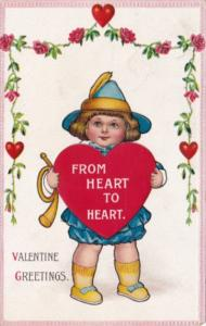 Valentine's Day With Young Boy With Bugle Holding Red Heart 1916
