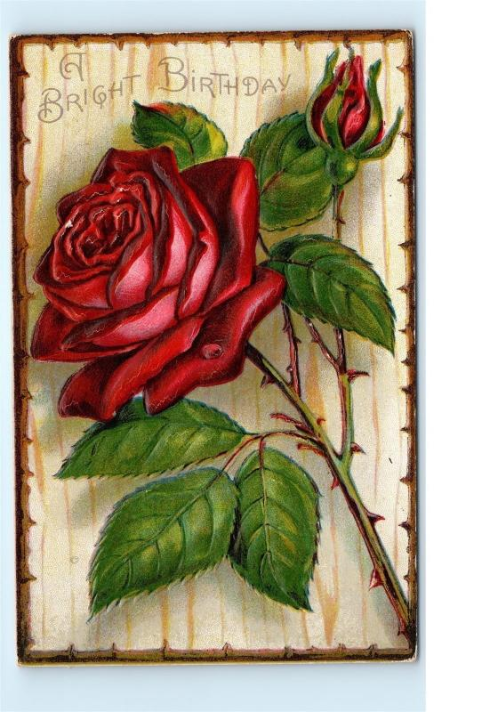 Highly Embossed Red Rose Bright Birthday Wishes Old Vintage Postcard C33