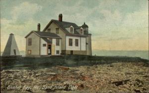 Bluehill ME Sand Island Lighthouse c1910 Postcard