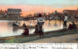 Scene on Fletcher Lake, Ocean Grove, New Jersey, Early Postcard, Undivided Back