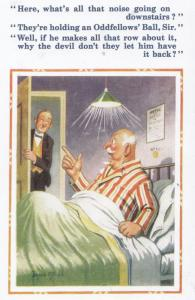 Oddfellows Ball Hotel Waiter Noise Donald McGill Banned Comic Humour Postcard