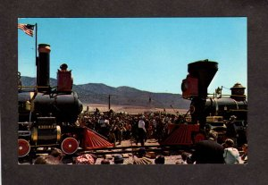 UT Union Central Pacific Railroad Train Promontory Summit Utah Postcard