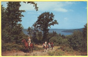 HORSEBACK RIDING AT LAKE WALLENPAUPACK POCONO MOUNTAINS, PA  SEE SCAN  139