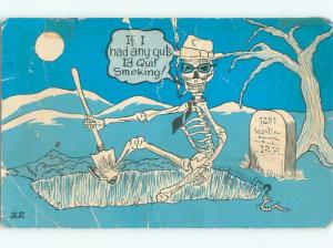 Pre-1980 Halloween Interest SKELETON SMOKING CIGARETTE IN GRAVEYARD AC0227