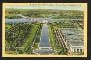 Lincoln Memorial Arlington Bridge Washington DC unused c1939