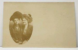 RPPC Pair Edwardian Ladies, Chicago North Ave Studio Gerken Family Postcard J8