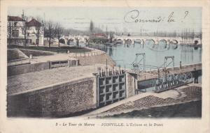 LE TOUR DE MARNE, France, 1900-1910's; Joinville, L'Ecluse Et Le Pont
