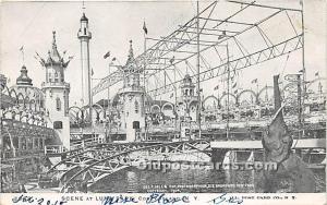 Scene in Luna Park Coney Island, NY, USA Amusement Park Writing on back