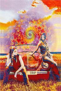 Volkswagen Beetle Day Trip 1960s Style Psychedelic Hippie Art Postcard
