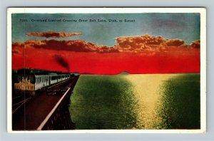 Overland Limited Crossing Great Salt Lake At Sunset, UT-Utah, Vintage Postcard