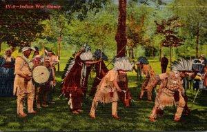 Wisconsin Greetings From Lac du Flambeau Showing Indian War Dance 1953 Curteich