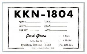 QSL Radio Card From Lynchburg Tennessee KKN - 1804