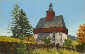 Photochrom early postcard landscape rural life inn house keep tree church bell
