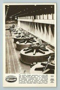 Grand Coulee Dam, Turbine, Generator, Washington State Postcard RPPC
