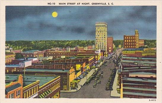South Carolina Greenville Main Street At Night