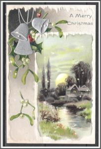 A Merry Christmas - Silver Bells - Holly - Embossed