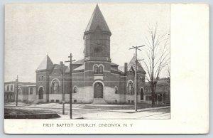 Oneonta New York~First Baptist Church~Victorian Home~c1905 B&W Postcard