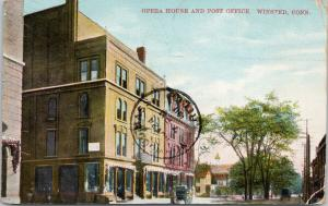 Opera House and Post Office Winsted CT Conn c1911 Postcard D93