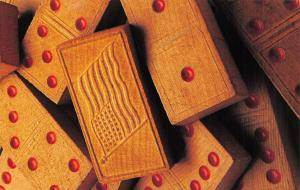 Postcard USA, of Patriotic Themed Wooden Domino tiles from the late 19th Century