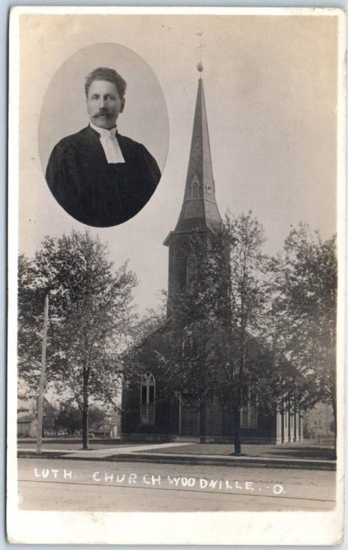 Woodville, Ohio RPPC Real Photo Postcard Lutheran Church Building 1910 Cancel