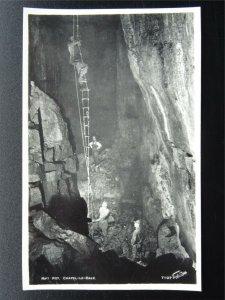 Yorkshire CHAPEL LE DALE Rift Pot Cave showing CAVER & LADDER - Old RP Postcard