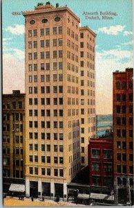 Duluth, Minnesota Postcard ALLWORTH BUILDING Bird's-Eye / Street View c1910s