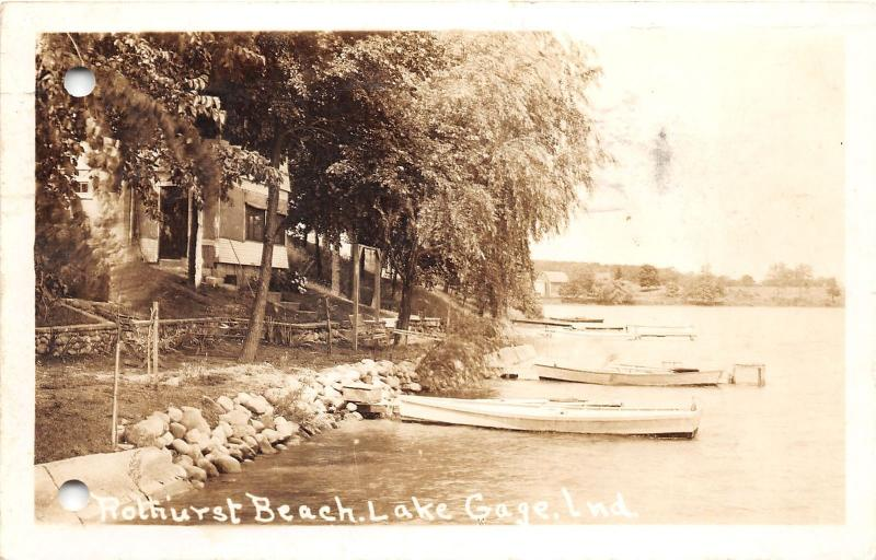 F5/ Lake Gage Indiana Real Photo RPPC Postcard 1944 Rothurst Beach