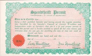 Humour Spendthrift Permit Card