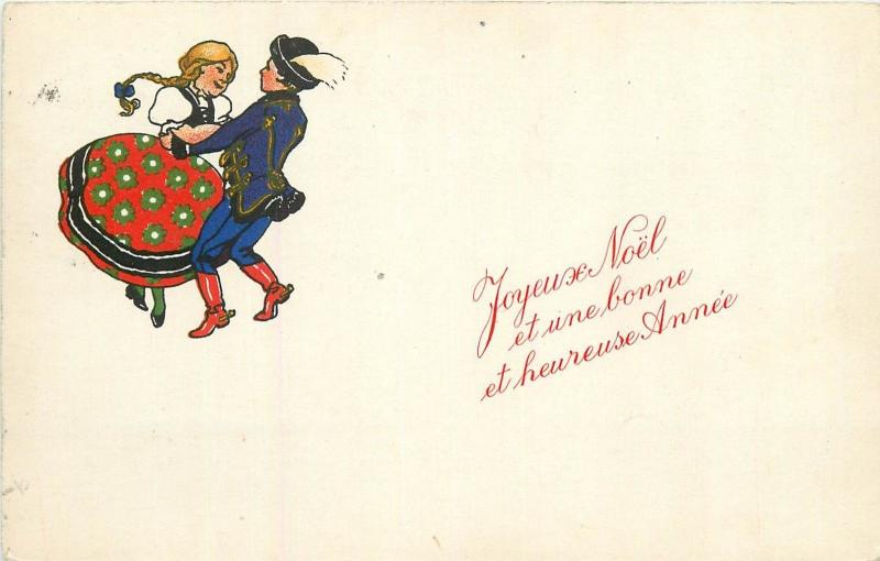 Hungarian dancing couple folk costumes hungary new year greetings hungarian dancing couple folk costumes hungary new year greetings 1938 postcard m4hsunfo