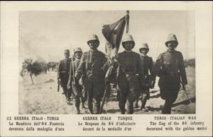 Turkish/Italian Turkey/Italy War Soldiers w/ 84th Infantry Flag c1911 RPPC dcn