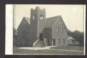 RPPC ACKLEY IOWA METHODIST CHURCH BUILDING VINTAGE REAL PHOTO POSTCARD