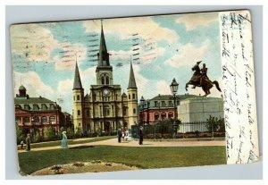 Vintage 1900's Raphael Tuck Postcard New Orleans Jackson Square & Cathedral