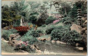 Vintage JAPAN Postcard Japanese An Illustrious Family Garden c1910s Unused