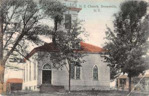 Brownville New York ME Church Street View Antique Postcard K27959